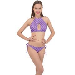 Scales2 White Marble & Purple Denim Cross Front Halter Bikini Set