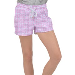 Woven1 White Marble & Pink Colored Pencil (r) Women s Velour Lounge Shorts
