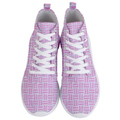 Woven1 White Marble & Pink Colored Pencil (r) Men s Lightweight High Top Sneakers
