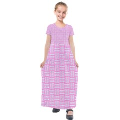 Woven1 White Marble & Pink Colored Pencil Kids  Short Sleeve Maxi Dress