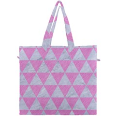 Triangle3 White Marble & Pink Colored Pencil Canvas Travel Bag by trendistuff