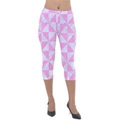 Triangle1 White Marble & Pink Colored Pencil Lightweight Velour Capri Leggings