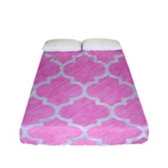 Tile1 White Marble & Pink Colored Pencil Fitted Sheet (full/ Double Size) by trendistuff