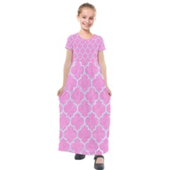 Tile1 White Marble & Pink Colored Pencil Kids  Short Sleeve Maxi Dress