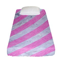 Stripes3 White Marble & Pink Colored Pencil (r) Fitted Sheet (single Size) by trendistuff
