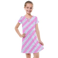 Stripes3 White Marble & Pink Colored Pencil (r) Kids  Cross Web Dress