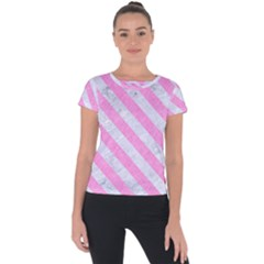 Stripes3 White Marble & Pink Colored Pencil Short Sleeve Sports Top