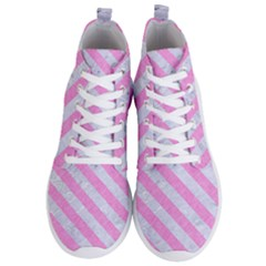 Stripes3 White Marble & Pink Colored Pencil Men s Lightweight High Top Sneakers by trendistuff