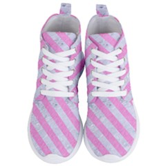Stripes3 White Marble & Pink Colored Pencil Women s Lightweight High Top Sneakers