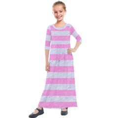 Stripes2white Marble & Pink Colored Pencil Kids  Quarter Sleeve Maxi Dress