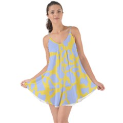 Yellow Blue Cow Print Love The Sun Cover Up