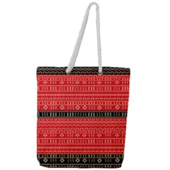 Red And Black Modern Mudcloth Full Print Rope Handle Tote (large)