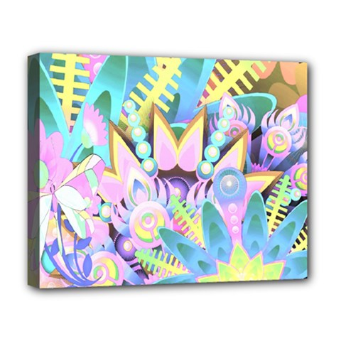 Floral Pattern Tropical Hawaiian Retro  Deluxe Canvas 20  X 16   by CrypticFragmentsColors