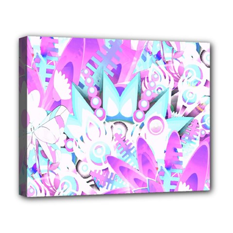 Hawaiian Retro Tropical Floral Print Pink Blue Deluxe Canvas 20  X 16   by CrypticFragmentsColors