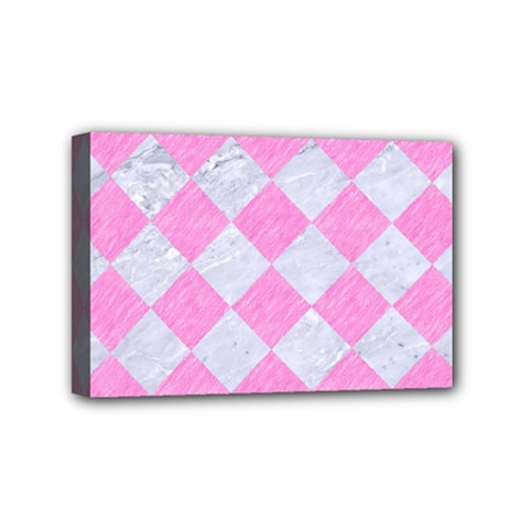Square2 White Marble & Pink Colored Pencil Mini Canvas 6  X 4  by trendistuff
