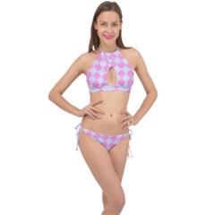 Square2 White Marble & Pink Colored Pencil Cross Front Halter Bikini Set