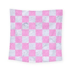Square1 White Marble & Pink Colored Pencil Square Tapestry (small) by trendistuff