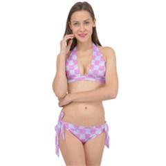 Square1 White Marble & Pink Colored Pencil Tie It Up Bikini Set