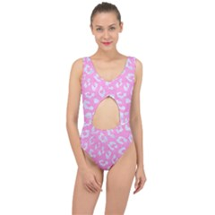Skin5 White Marble & Pink Colored Pencil (r) Center Cut Out Swimsuit