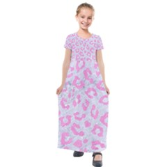 Skin5 White Marble & Pink Colored Pencil Kids  Short Sleeve Maxi Dress