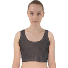 Gator Brown Leather Print Velvet Racer Back Crop Top