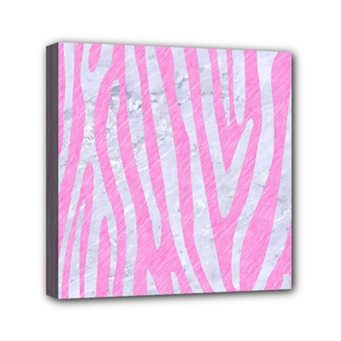 Skin4 White Marble & Pink Colored Pencil (r) Mini Canvas 6  X 6  by trendistuff