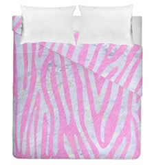 Skin4 White Marble & Pink Colored Pencil (r) Duvet Cover Double Side (queen Size) by trendistuff