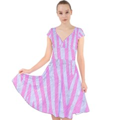 Skin4 White Marble & Pink Colored Pencil (r) Cap Sleeve Front Wrap Midi Dress