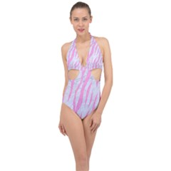 Skin3 White Marble & Pink Colored Pencil (r) Halter Front Plunge Swimsuit