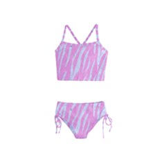 Skin3 White Marble & Pink Colored Pencil Girls  Tankini Swimsuit