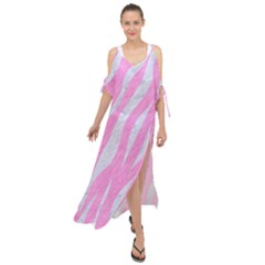 Skin3 White Marble & Pink Colored Pencil Maxi Chiffon Cover Up Dress