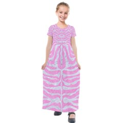 Skin2 White Marble & Pink Colored Pencil Kids  Short Sleeve Maxi Dress