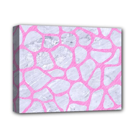 Skin1 White Marble & Pink Colored Pencil Deluxe Canvas 14  X 11  by trendistuff