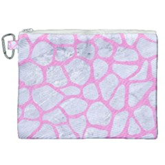 Skin1 White Marble & Pink Colored Pencil Canvas Cosmetic Bag (xxl) by trendistuff