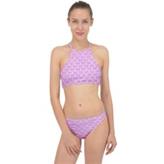 Scales3 White Marble & Pink Colored Pencil Racer Front Bikini Set