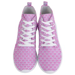 Scales3 White Marble & Pink Colored Pencil Men s Lightweight High Top Sneakers