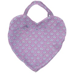 Scales2 White Marble & Pink Colored Pencil (r) Giant Heart Shaped Tote by trendistuff