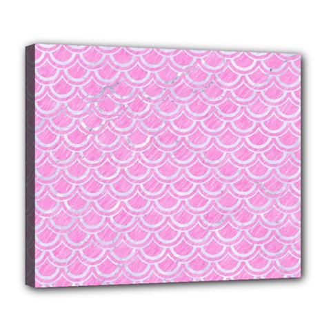 Scales2 White Marble & Pink Colored Pencil Deluxe Canvas 24  X 20   by trendistuff