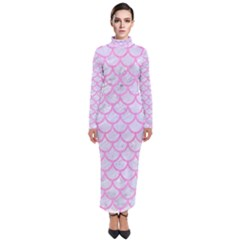 Scales1 White Marble & Pink Colored Pencil (r) Turtleneck Maxi Dress