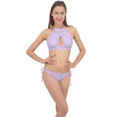 Scales1 White Marble & Pink Colored Pencil (r) Cross Front Halter Bikini Set