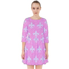 Royal1 White Marble & Pink Colored Pencil (r) Smock Dress