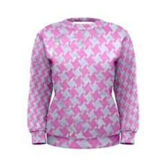 Houndstooth2 White Marble & Pink Colored Pencil Women s Sweatshirt