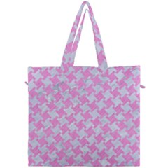 Houndstooth2 White Marble & Pink Colored Pencil Canvas Travel Bag by trendistuff