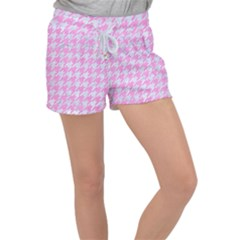 Houndstooth1 White Marble & Pink Colored Pencil Women s Velour Lounge Shorts