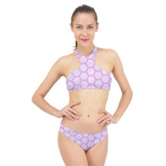 Hexagon2 White Marble & Pink Colored Pencil (r) High Neck Bikini Set