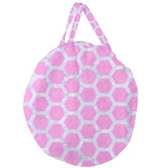 Hexagon2 White Marble & Pink Colored Pencil Giant Round Zipper Tote by trendistuff