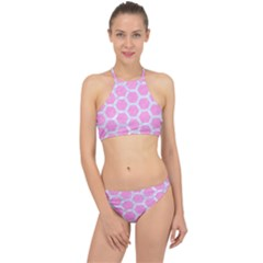 Hexagon2 White Marble & Pink Colored Pencil Racer Front Bikini Set