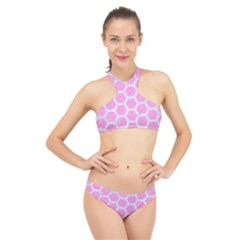 Hexagon2 White Marble & Pink Colored Pencil High Neck Bikini Set