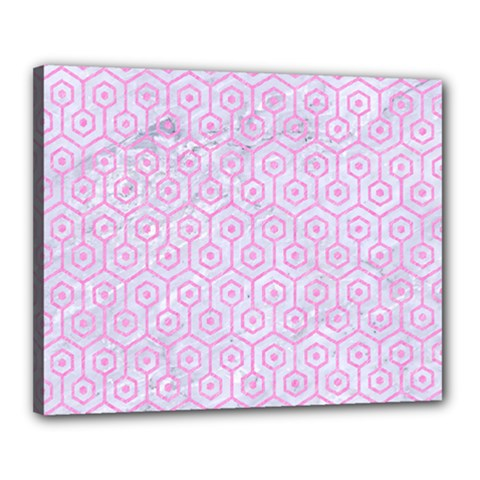 Hexagon1 White Marble & Pink Colored Pencil (r) Canvas 20  X 16  by trendistuff