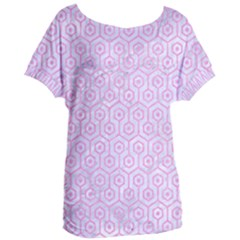 Hexagon1 White Marble & Pink Colored Pencil (r) Women s Oversized Tee